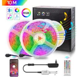 Tira de luces led 10M, 28 tonalidades de color, 8 modos, micro para función musical por 12,49€ antes 24,99€.
