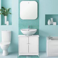 Armario de suelo para debajo del lavabo, 2 puertas, 60 x 29 x 60cm por 46,99€ antes 78,31€.