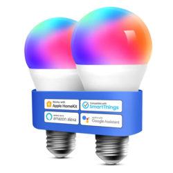 2 bombillas inteligentes E27 9W Wifi compatible con Apple HomeKit, Alexa Echo y Google Home por 9,99€.