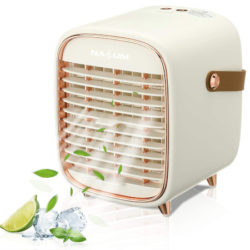 Mini enfriador de aire, humificador, batería 2000mAh por 20,29€.