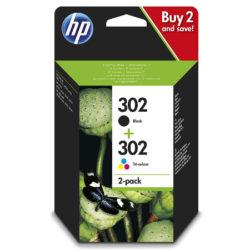 Pack de 2 cartuchos de tinta HP 302 X4D37AE con cartuchos de tinta negro y tricolor por sólo 16,99€.