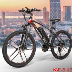 Bicicleta eléctrica de montaña N&P Samebike 26E, marco de aluminio de aviación, motor 350W, batería extraíble de bajo consumo 384Wh, pantalla LCD+casco por 475,29€ antes 678,99€.