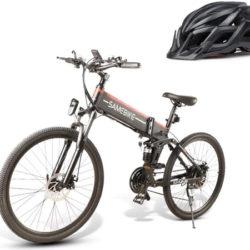 Bicicleta de montaña eléctrica plegable M&P, motor sin escobillas 500W, panel led, 21 velocidades+casco Samebike por 499,84€ en Amazon antes 768,99€.