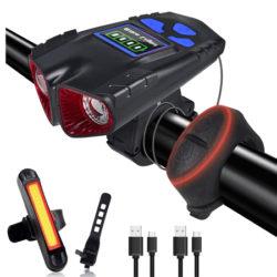 Foco delantero 500 lúmenes, 4 modos de iluminación y luz trasera para bici o patinete con bocina 120db (6 timbres), IPX6 por 16,63€ antes 30,23€.