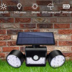 Focos dobles solares orientables 360º e impermeables (IP65), batería 2000mAh con sensor de encendido infrarrojo por 14,99€ antes 22,99€.