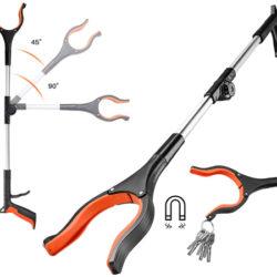 Pinza larga Tacklife de 77cm, plegable y ajustable en ángulos, punta imanda por 8,99€.