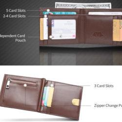 Cartera de piel con bloqueo de tarjetas RFID negro o marrón por sólo 8,49€.