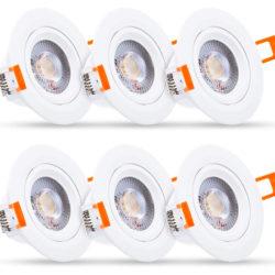 6 focos led para techo, 560LM, IP65, direccionables en ángulo de 60º por 9,29€.