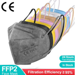 100 mascarillas FFP2 N95 de colores, protección contra patógenos y polvo desde sólo 13,23€.