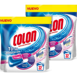 Detergente para la lavadora Colon Total Power Gel Caps con limpiamanchas Vanish, 64 lavados por 4,76€.