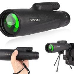 Telescopio monocular impermable 10x50, con trípode, soporte para móvil, rismas BAK4 y visión nocturna por 18€ antes 39,99€.