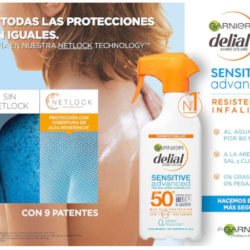 Garnier Delial Sensitive Advanced para pieles sensibles, IP50+, 300ml por 8,70€ y Delial Niños IP50+, 300ml por 8,40€.