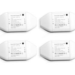 Pack de cuatro interruptores inteligentes WIFI compatibles con Alexa y Google por sólo 17,60€.