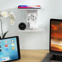Multienchufe con 4 salidas de red, 2 USB A, luz nocturna con sensor de encendido/apagado, 2 estantes por 14,99€ antes 29,99€.