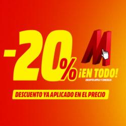 ¡Hasta mañana a las 9 de la mañana! ¡20% sobre el total en televisores, pequeños y grandes electrodomésticos y audio! Más que un día sin IVA, con financiación al 0% y exclusivo online.