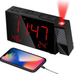 Reloj despertador con proyector 180º, puerto USB y radio FM por 8,79€ antes 21,99€.
