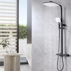 Columna de ducha termostática negra por 55,49€ antes 110,99€.
