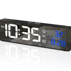 Reloj despertador con alarma dual y función Snooze ajustable, 40 sonidos por 3,99€.