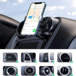 Soporte de móvil para coche, sistema de sujección por gravedad, anclaje en rejillas de ventilación universal por 8,99€.