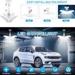 Luz de garaje 38W/90 lúmenes, luz blanca natural con 4 paneles ajustables por 8,99€.