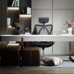 Silla de oficina con respaldo alto, ergonómica con reposacabezas ajustable por 139,99€.