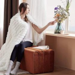 Manta Bedsure de terciopelo blanco, pelo blanco por 150x200cm por 15,19€ antes 37,99€